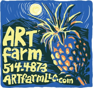 ARTfarm by moonlight with a pineapple.