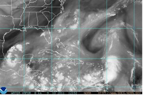 Tropical Storm Maria veering toward St. Croix in NOAA's Water Vapor Loop imagery