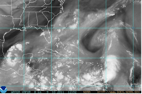Tropical Storm Maria veering toward St. Croix in NOAA's Water Vapor Loop imagery
