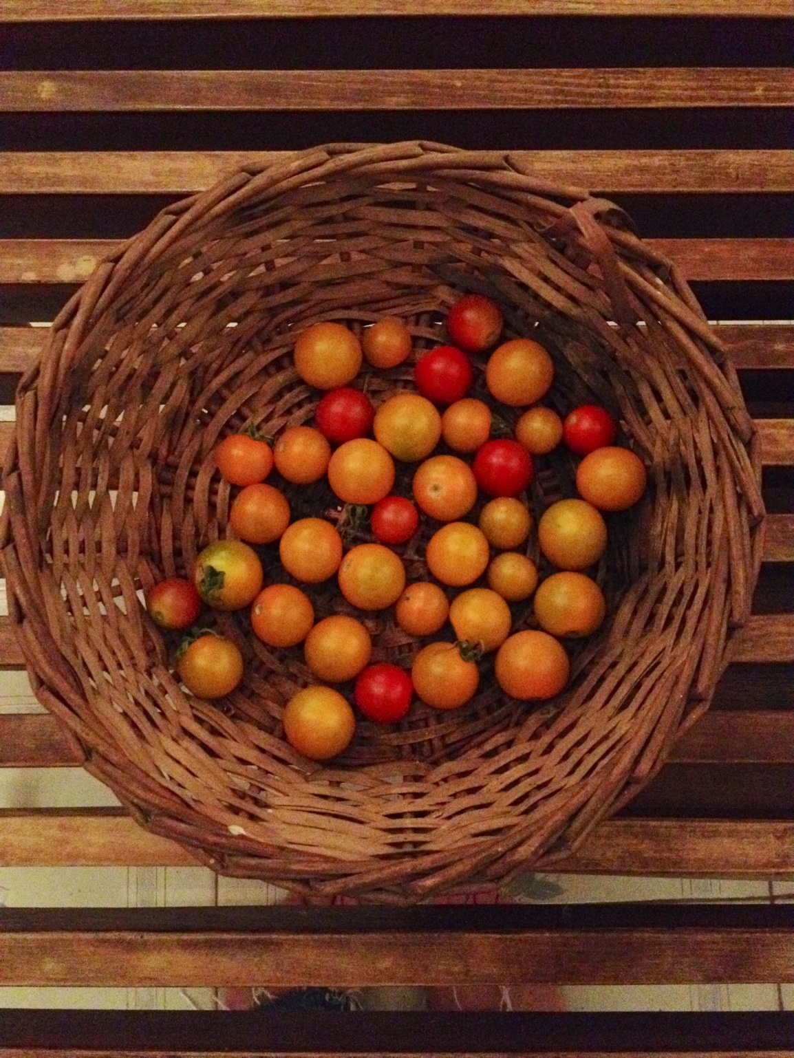 A view from above of a basket with a few early cherry tomatoes in various colors.