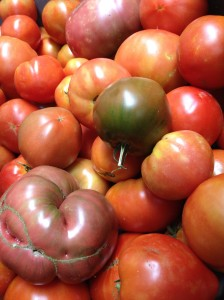 A pile of tomatoes ranging from red to orange to purple and green shouldered, at ARTfarm