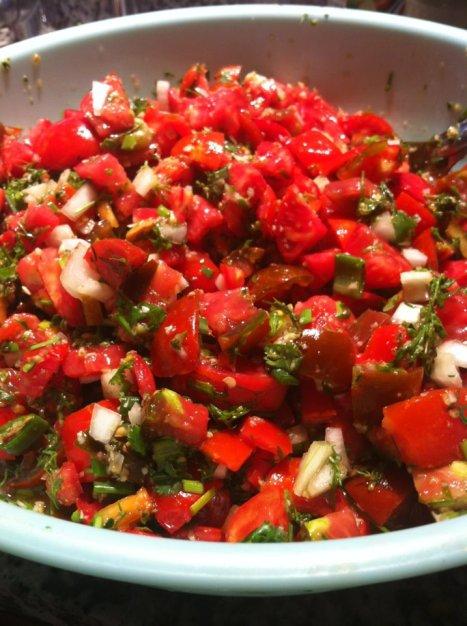Chef Jill Dedinsky's ARTfarm Salsa is full of red chunks of organically grown tomatoes, onions and bright green farm-fresh herbs.