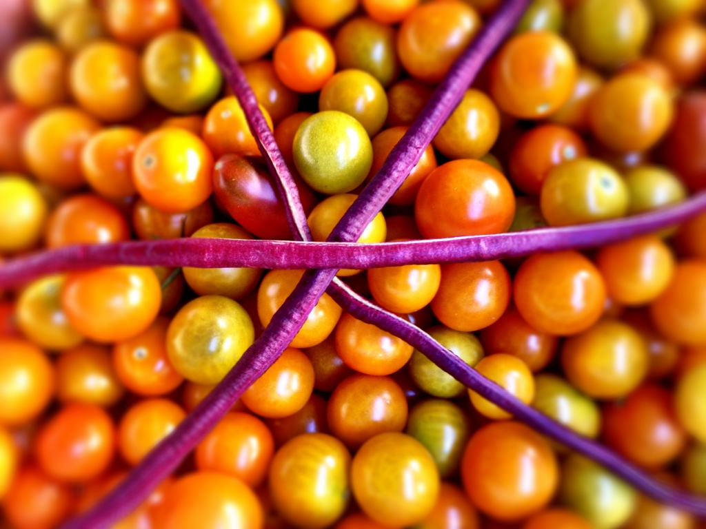 Three purple longbeans intersect to form a star on top of a pile of ripe yellowy-orange cherry tomatoes.