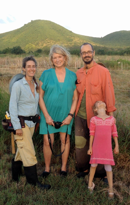 Celebrity Martha Stewart poses for a photo with the ARTfarm family in the pasture while on vacation.