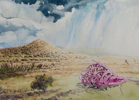 """South Shore Dragon"", 9 x 12"" watercolor (c)2015 Luca Gasperi"