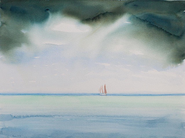 """Rain from the North"", 12 x 16"" watercolor (c)2015 Luca Gasperi"