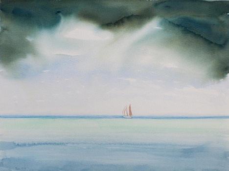 """""""Rain from the North"""", 12 x 16"""" watercolor (c)2015 Luca Gasperi"""