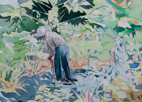 Chicco Picking The Beans, watercolor (c)2015 Luca Gasperi