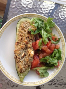 We love seeing what you do with our produce! Here is a stuffed zucchini with a side salad! Thanks Isabel Cerni & family!