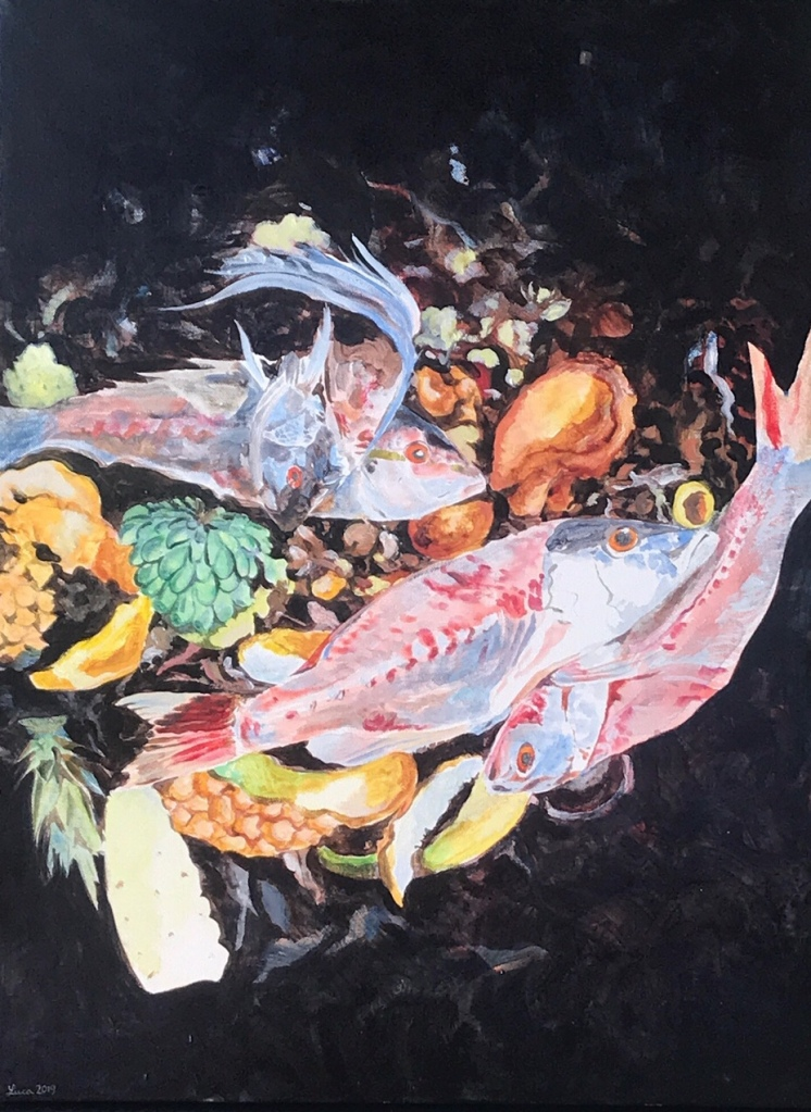 A painting showing fresh fish carcasses and fruit peels in a compost bin, gleaming like jewels.