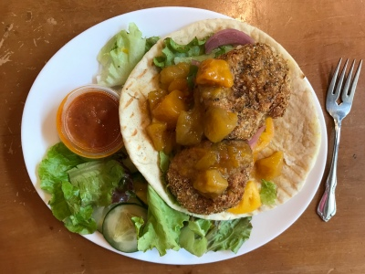 A luncheon plate of falafel with a green salad from ARTfarm